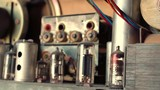 Inside view of components of old tube radio receiver Zvezda-54