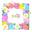 fine nature frame with lovely flowers and butterflies for your d