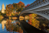 Fall in Central Park at The Lake with the Bow Bridge. Morning view with colorful Autumn foliage on the Upper West Side. Manhattan, New York City - 134924003