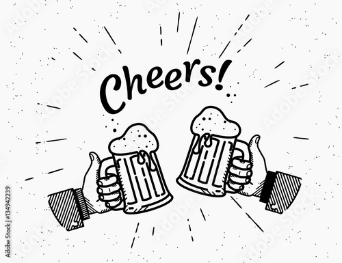 Two Hands With Thumbs Up Symbol Icon Of Cold Beer Glasses Retro