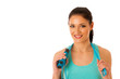 Beautiful young woman working out with speed rope isolated over