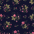 seamless floral pattern with rosrs on dark blue background