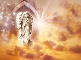 angel archangel with gate, stars and rays of light over mystical background  - 134957657