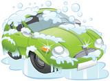 The Green Car on a Car Wash.