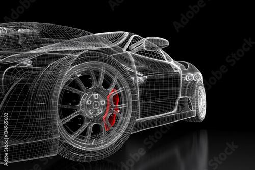 3D car mesh on a black - 134965682