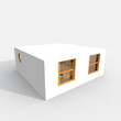 3d exterior rendering of cube white home with three windows