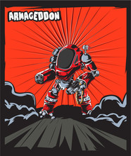 Warrior Robot Comic Cartoon Poster Sticker