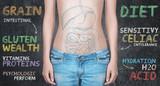 Pancia di donna con scritte per celiaci