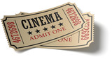 Pair of retro cinema tickets whith shadow