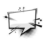 Fototapety Blank template comic text speech square cloud bubble. Dialog empty box space. Halftone dot background style pop art. Comics book sketch explosion burst bomb