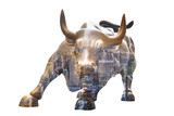 NEW YORK CITY - MAR 26: The landmark Charging Bull in Lower Manhattan represents aggressive financial optimism and prosperity March 26, 2015 in New York, NY, United States of America.
