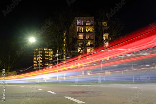 Foto op Aluminium Nacht snelweg light streaks in the city