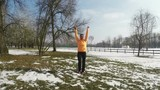 Fitness Woman Winter Exercising