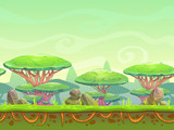 Seamless cartoon fantasy landscape