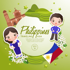Traveling Asia : Philippines Tourist Attractions : Vector Illustration
