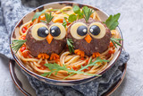 Pasta spaghetti with funny meatballs for kids - 135000275