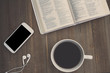 Bible Study with Coffee and Smartphone