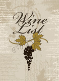 vector banner with spots and splashes of wine list and a bunch of grapes