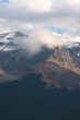 Cloud covered mountain peaks in the Canadian Rockies