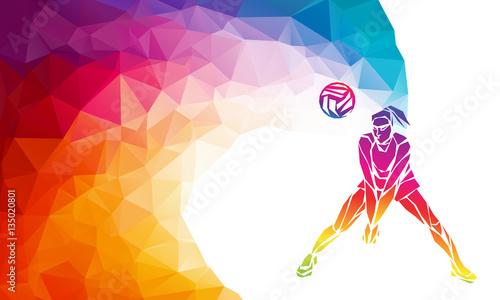 Fototapeta Volleyball player. Team sport vector polygonal banner