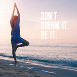 Inspirational quote on woman exercise with yoga background