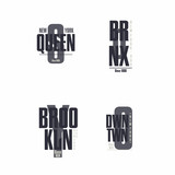 The Bronx, Brooklyn, Queens, Downtown, New York City lettering. T-shirt printing design. Set of stamps, prints for sportswear or streetwear apparel. Vector illustration - 135026483