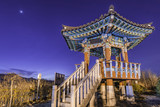 The beauty of traditional korean pavilion at dusk.