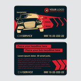 Auto repair business card template. Create your own business cards. Mockup Vector illustration.