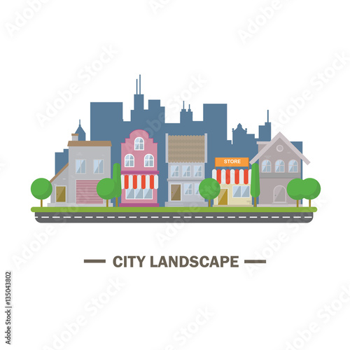 City landscape flat design illustration