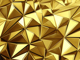 Golden background with triangles poligones waves - 135056008