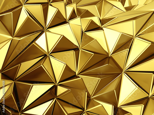 Golden background with triangles poligones waves