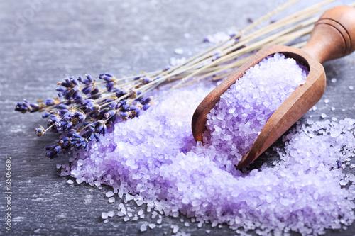 purple bath salt and dried flowers of lavender - 135056680