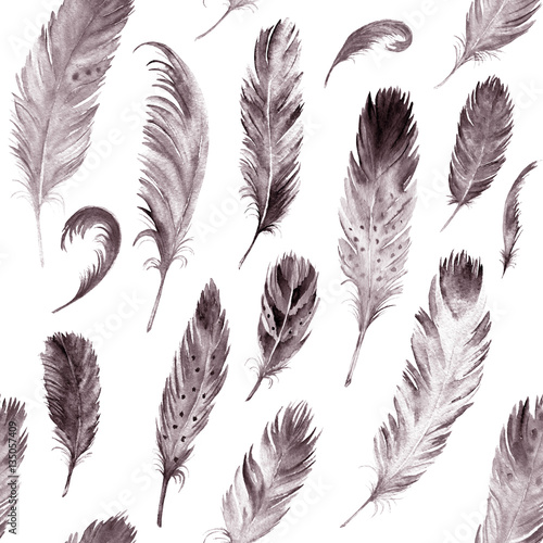 Monochrome watercolor feathers pattern. Ethnic hand drawn motif - 135057409