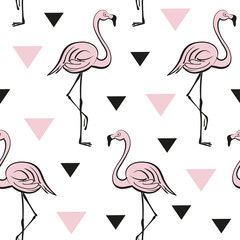 Seamless pattern with pink flamingos. Tropical vector print. Pop art style.