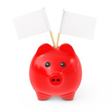 Red Piggy Bank Style Money Box with Blank Flags for Your Text. 3