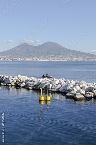 Papiers peints Naples Vesuvio visto dal Golfo di Napoli