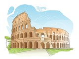 Handdrawn colored illustration of the Colosseum, Rome, Italy
