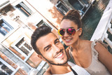 Selfie of gorgeous couple in holiday - 135069233