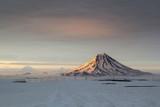 Volcano Vilyuchinsky during sunset. Kamchatka, Russia