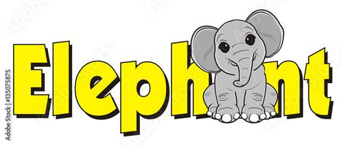 cartoon, animal, zoo, Africa, India, toy, elephant, gray, trunk, sit, word