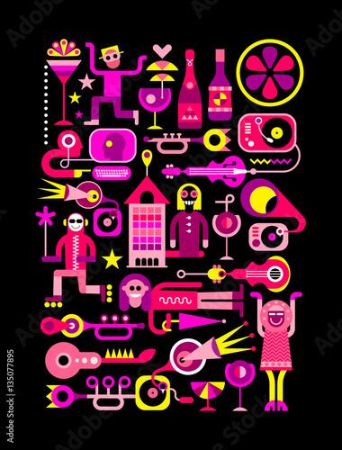 Festive City Vector Illustration