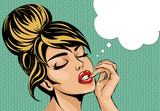 Fototapety Pop art comic style woman with close eyes dreaming, vector