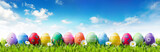 Easter Banner - Colorful Painted Eggs In Row On Grass  - Fine Art prints