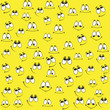 Pattern of funny smiles on a yellow background. Comic facial expression. - 135084009
