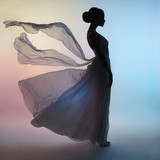 Silhouette elegant woman in blowing dress