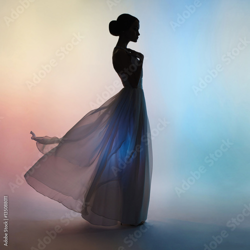 Silhouette elegant woman in blowing dress