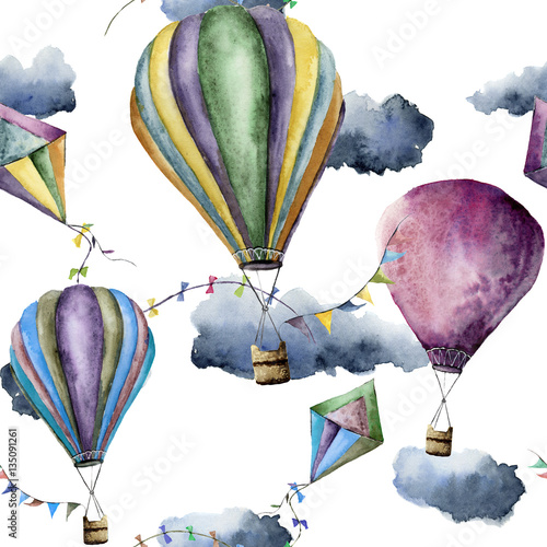 Materiał do szycia Watercolor pattern with hot air balloons and kites. Hand drawn vintage kite, air balloons with flags garlands, clouds and retro design. Illustrations isolated on white background