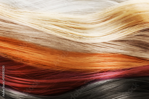 Leinwanddruck Bild Colorful hair background. Hairstyles and care concept