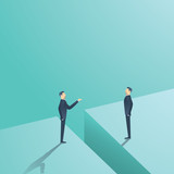 Business negotiation or communication vector concept. Two man having discussion, bargaining with gap between.
