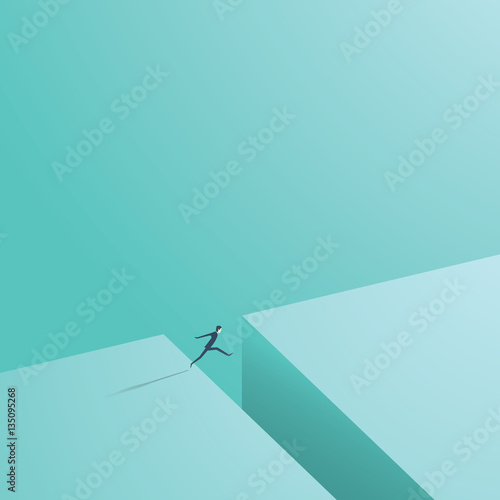 Businessman jumping over gap as a symbol of business risk and courage, brave step.